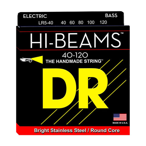 DR Strings  LR5-40 (Light 5's) - HI-BEAM  - Stainless Steel: 40, 60, 80, 100, 120