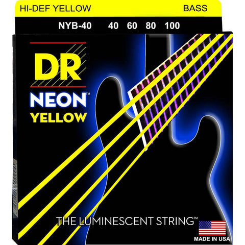 DR Strings NYB-45 (Medium) - Hi-Def NEON YELLOW: Coated Bass Strings: 45, 65, 85, 105