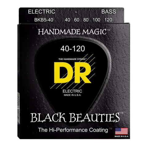 DR Strings BKB5-40 (Medium 5's) - BLACK BEAUTIES  - BLACK Coated Bass: 40, 60, 80, 10, 120