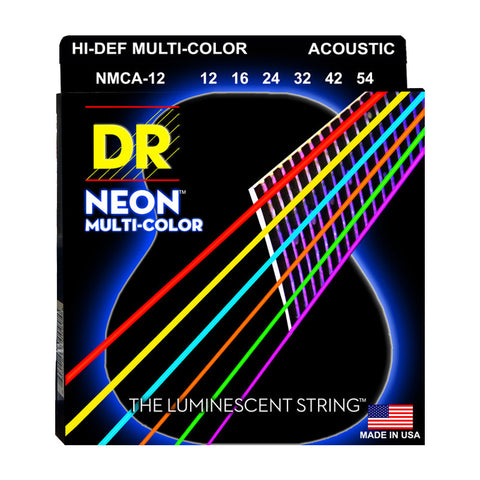 DR Strings NMCA-12 (Light) - Hi-Def NEON Multi-Color: Coated Acoustic: 12, 16, 24, 32, 42, 54