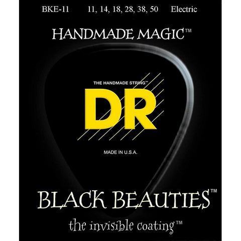 DR Strings BKE-11 (Heavy) - BLACK BEAUTIES - BLACK Coated Electric: 11, 14, 18, 28, 38, 50