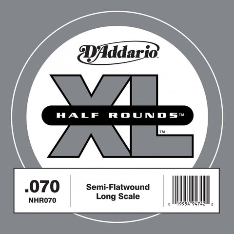 D'Addario NHR070 - SINGLE BASS HALF RND 070 LONG