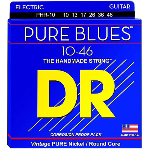 DR Strings PHR-10 (Medium) - PURE BLUES Pure Nickel Electric: 10, 13, 17, 26, 36, 46