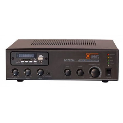 Quest M35t - 35W Mixer Amplifier 4ohm, 8ohm or 25V/70V with Built-in Tuner and USB Media Player