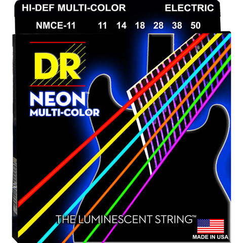 DR Strings NMCE-11 (Heavy) - Hi-Def NEON Multi-Color: Coated Electric: 11, 14, 18, 38, 50