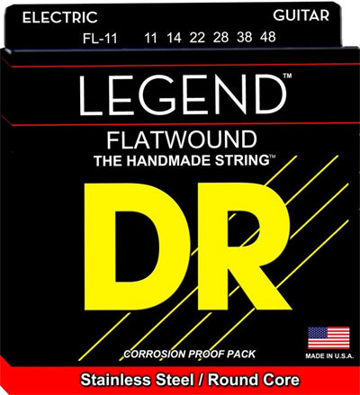 DR Strings FL-11 (Medium - Light) - Polished Flatwound Electric: 11, 14, 22, 28, 38, 48