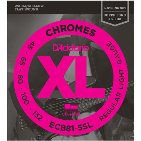 D'Addario ECB81-5SL - SET BASS CHROM 45-132 SL 5STR