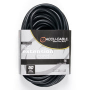 Accu-Cable AC Power Extension Cable 12-Gauge Black 50 Feet
