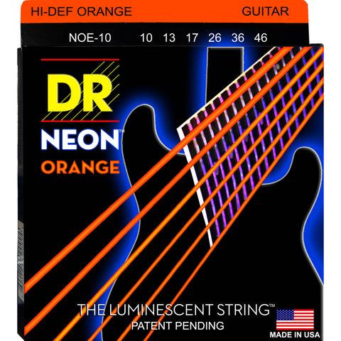 DR Strings NOE-10 (Medium) - Hi-Def NEON ORANGE: Coated Electric: 10, 13, 17, 26, 36, 46