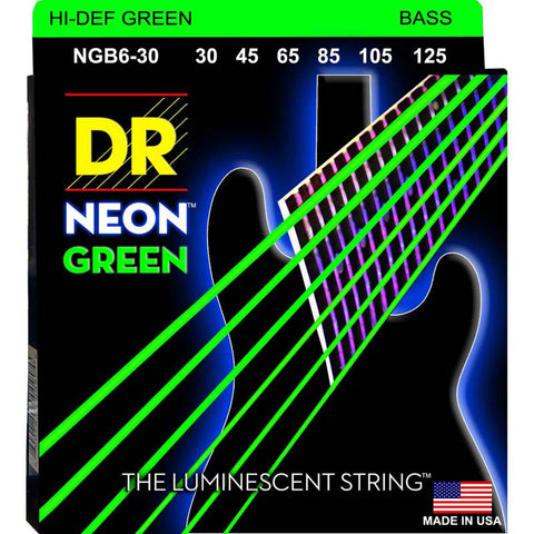 DR Strings NGB6-30 (Medium 6's) - Hi-Def NEON GREEN: Coated Bass Strings: 30, 45, 65, 85, 105, 125