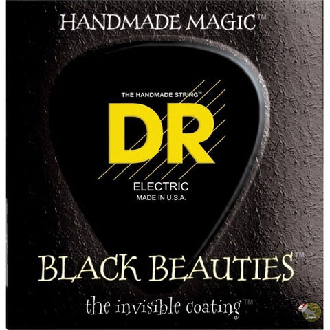 DR Strings BKB6-30 (Medium 6's) - BLACK BEAUTIES  - BLACK Coated Bass: 30, 45, 65, 85, 105, 125