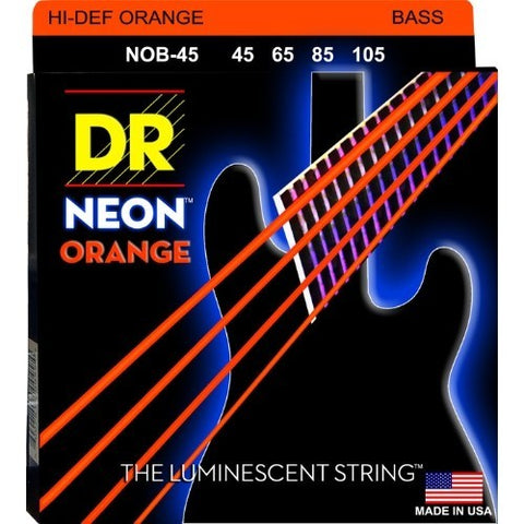 DR Strings NOB-45 (Medium) - Hi-Def NEON ORANGE: Coated Bass Strings: 45, 65, 85, 105