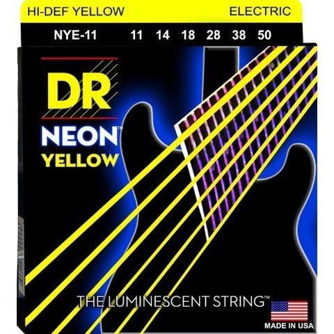 DR Strings NYE-11 (Heavy) - Hi-Def NEON YELLOW:  Coated Electric: 11, 14, 18, 28, 38, 50