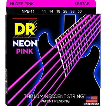DR Strings NPE-11 (Heavy) - Hi-Def NEON PINK:  Coated Electric: 11, 14, 18, 28, 38, 50