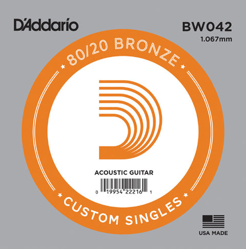 D'Addario BW042 - SINGLE 80/20 BRONZE WND 042