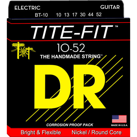 DR Strings BT-10 (Big -n- Heavy) - Tite-Fit Nickel Plated Electric: 10, 13, 17, 30, 44, 52