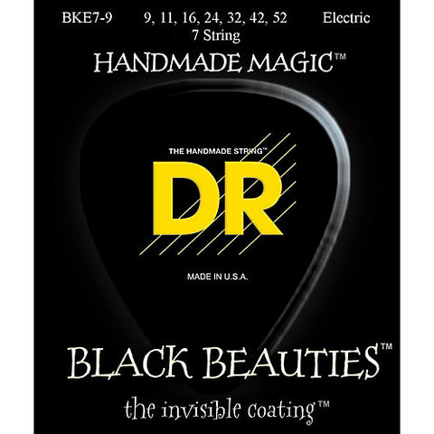 DR Strings BKE7-9 (7 String Light) - BLACK BEAUTIES - BLACK Coated Electric: 9, 11, 16, 24, 32, 42, 52