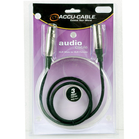 Accu-Cable XLR Microphone Cable 3 Feet