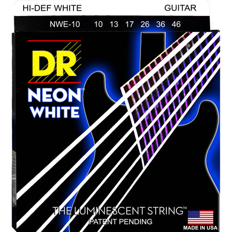 DR Strings NWE-10 (Medium) - Hi-Def NEON WHITE: Coated Electric: 10, 13, 17, 26, 36, 46