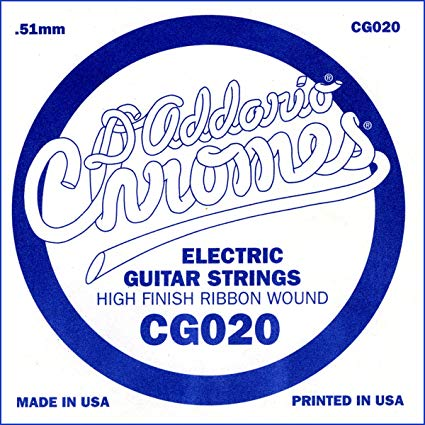 D'Addario CG020 - SINGLE CHROMES FLAT WND 020