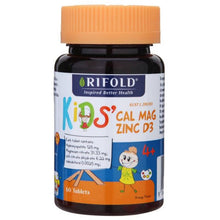 Load image into Gallery viewer, Rifold kid's cal mag zinc +D3 60 Orange Flavour Tablets
