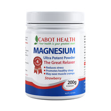 Load image into Gallery viewer, Cabot Health Magnesium Ultra Potent 200g Strawberry