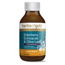Load image into Gallery viewer, Herbs of Gold Elderberry Echinacea & Olive Leaf 100ml