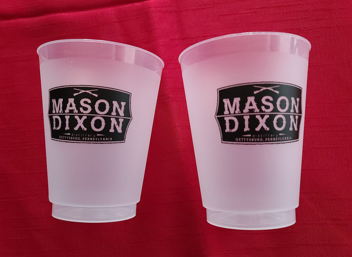 2 reusable plastic tumblers