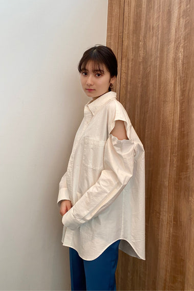 Open shoulder big shirt -  2color