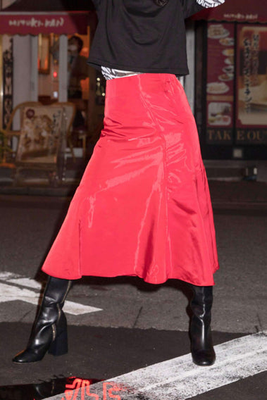 Shiny flare skirt - 3color