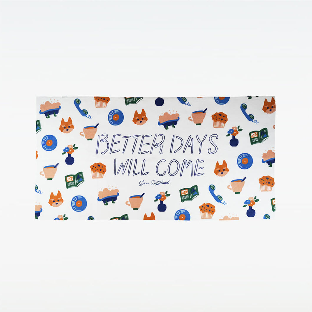 【BETTER DAYS WILL COME】 バスタオル (白)