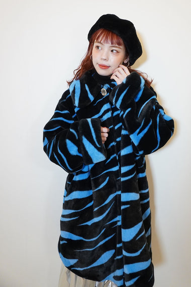 70's Actress Fur Coat / Blue