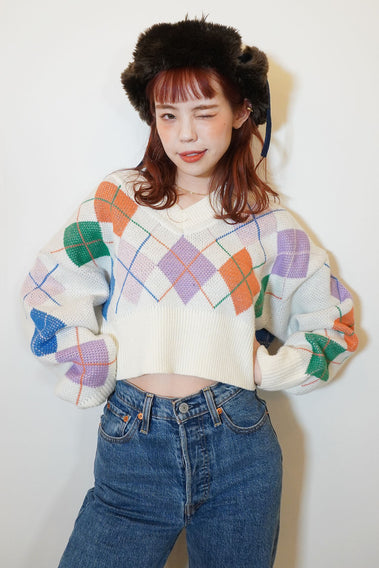 Happy Vibes Argyle Knit Tops - White