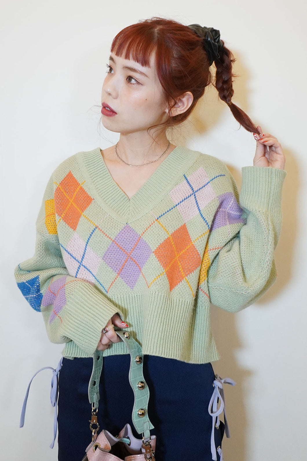 Happy Vibes Argyle Knit Tops - Green