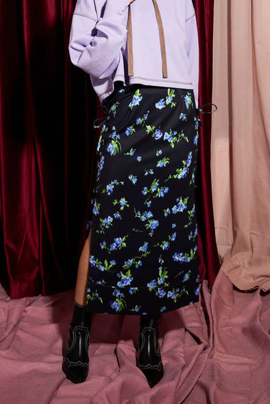 Rainy Floral Laceup Skirt