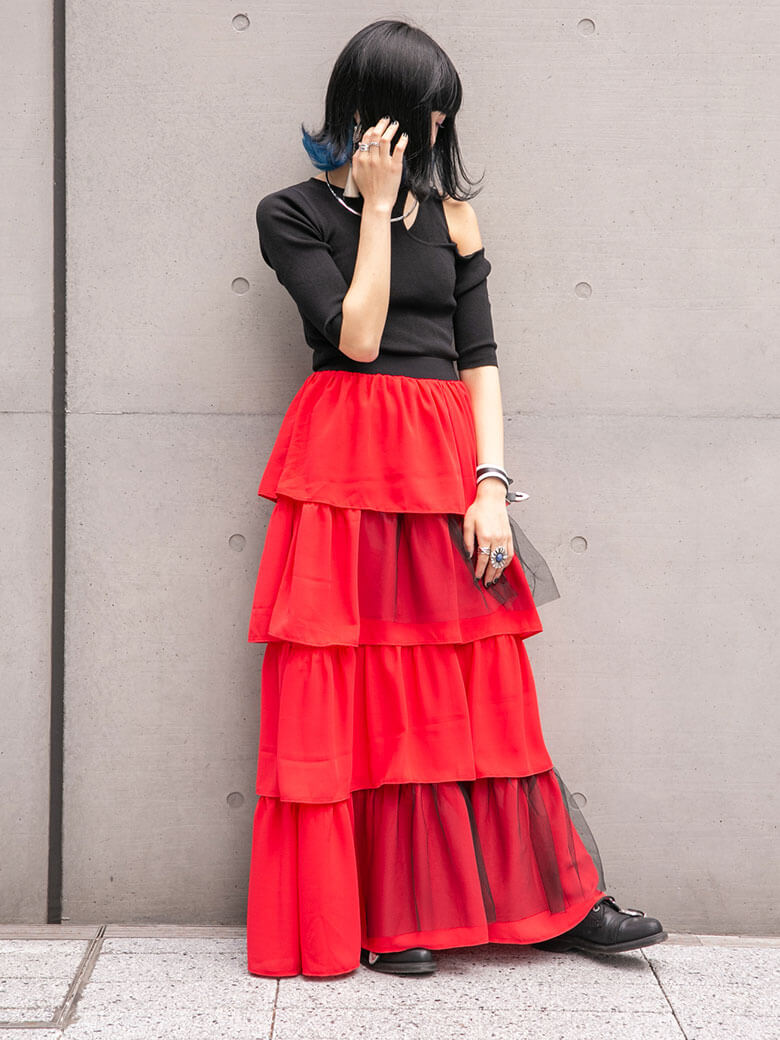 tiered skirt(red)