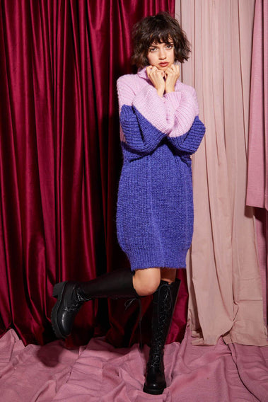 Cozy Home Knit Dress / purple