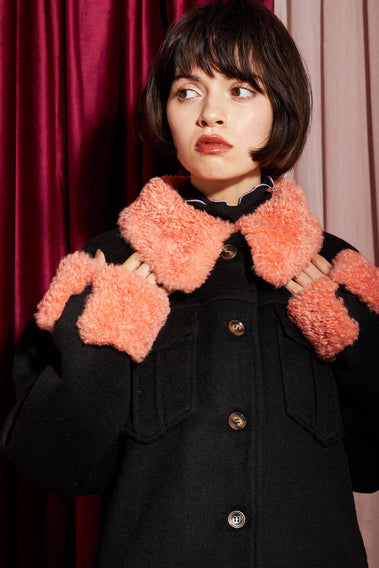 Curly Collorful Collar Jacket / black