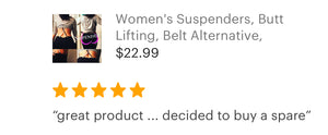 Women's undergarment suspenders, shapewear, 5 star reviews, great products, yoga suspenders, skinny suspenders, butt lifting, slimming shapewear, suspenders for jeans, suspenders for belt loops, suspenders for women, ladies suspenders,