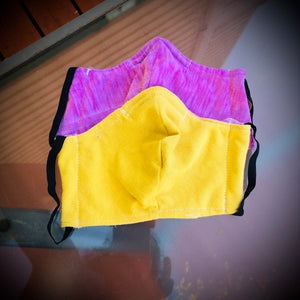 Fabric Face Mask with Elastic Straps, Washable, Reusable, 2 Layer Design, With Nose Wire.
