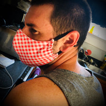 Load image into Gallery viewer, Fabric Face Mask with Elastic Straps, Washable, Reusable, 2 Layer Design, With Nose Wire.