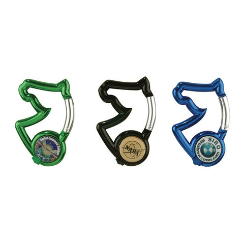 Picture of Carabiner, Horse Head Shaped w/LED Light and Split Ring, Blue, Green colors with matching color light, Black with white light