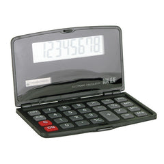 Jumbo LCD display, compact calculator with soft rubber keys, logo imprint on cover, available in black color only.