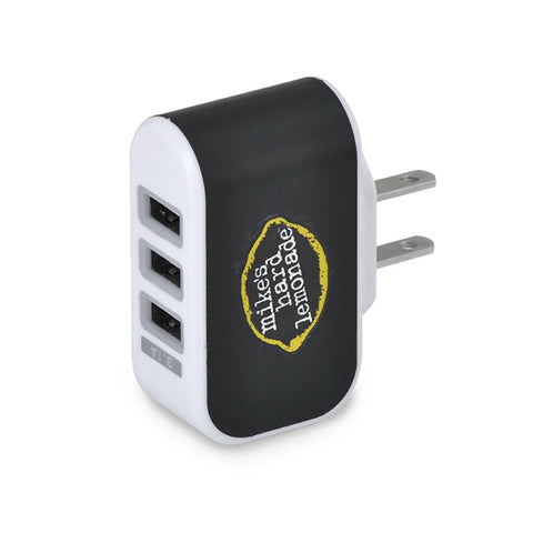 Picture of Triple USB port AC charger  with light-up USB ports.