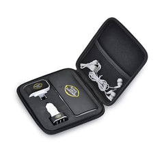 Executive travel set, comes with 10000mAh capacity power bank with triple USB ports, triple post AC charger. triple port car charger, Ear buds and power bank re-charging cable.
