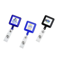 "Square shape badge reels with 35"" cord, with slip on back clip, prices includes 0.8"" epoxy domed logo"