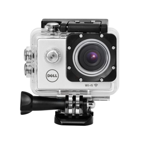 Picture of WI-FI function water proof action camera and assortment of mounts.  Comes with instructions and recharging cable.