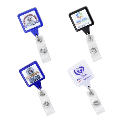 "Picture of Square shape badge reels with 35"" cord and with swivel alligator back clip, prices includes 0.8"" epoxy domed logo"