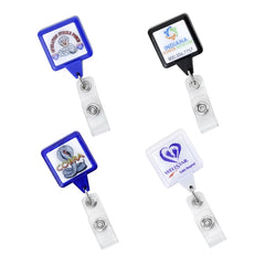 "Square shape badge reels with 35"" cord and with swivel alligator back clip, prices includes 0.8"" epoxy domed logo"