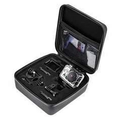 Travel case and water proof action camera with assortment of mounts
